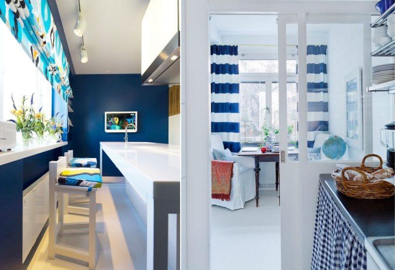 וילונות כחולים בפנים המטבח