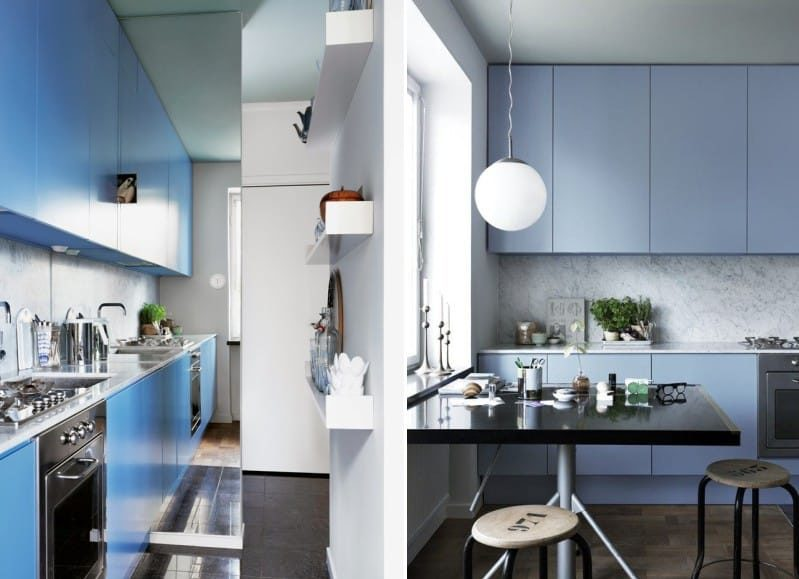 מטבח כחול שקוע בפנים