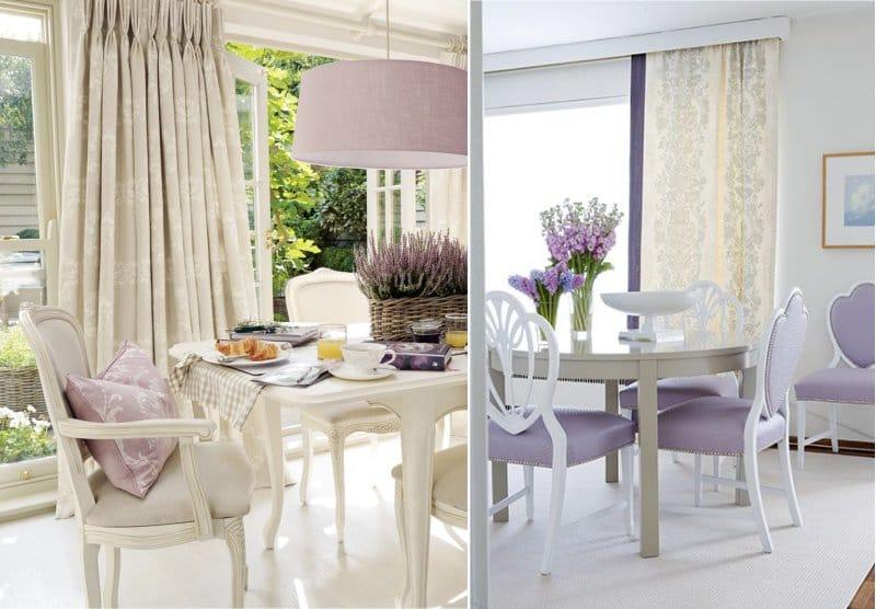 Gabungan warna lilac dan krim di bahagian dalam ruang makan