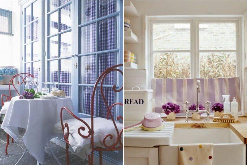 Tekstil warna ungu di bahagian dalam dapur di gaya Provence