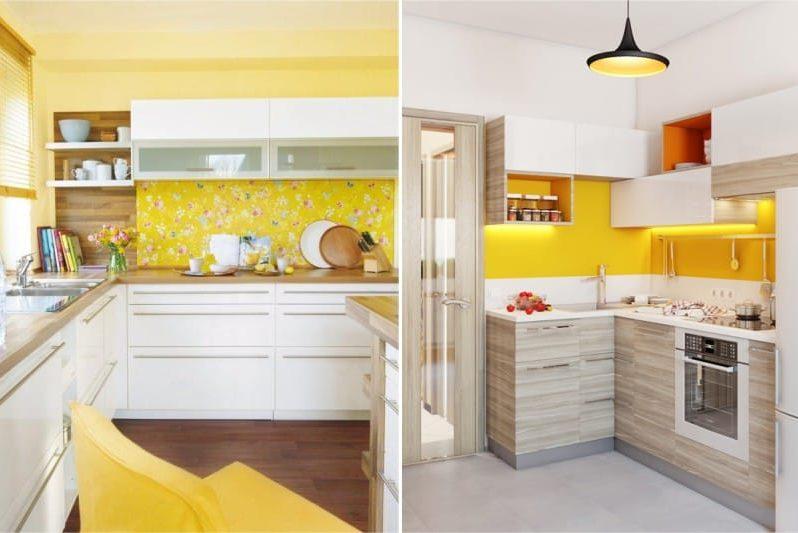 Galben și maro nuanțe în interiorul bucătăriei