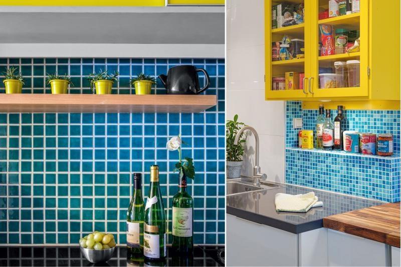 Sárga és kék szín a konyha munkaterületének kialakításában