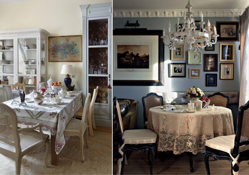 La décoration de la salle à manger dans le style du manoir russe