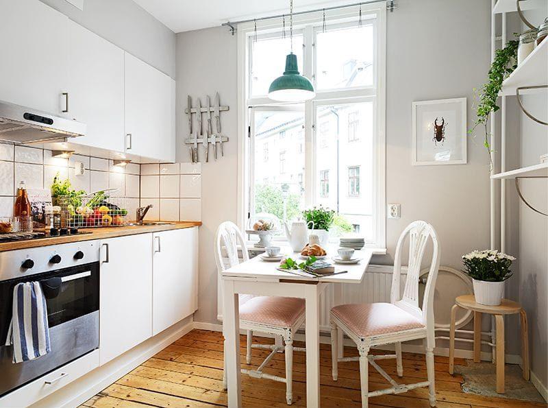 Un exemple d'une cuisine réussie allumant 9 carrés. m
