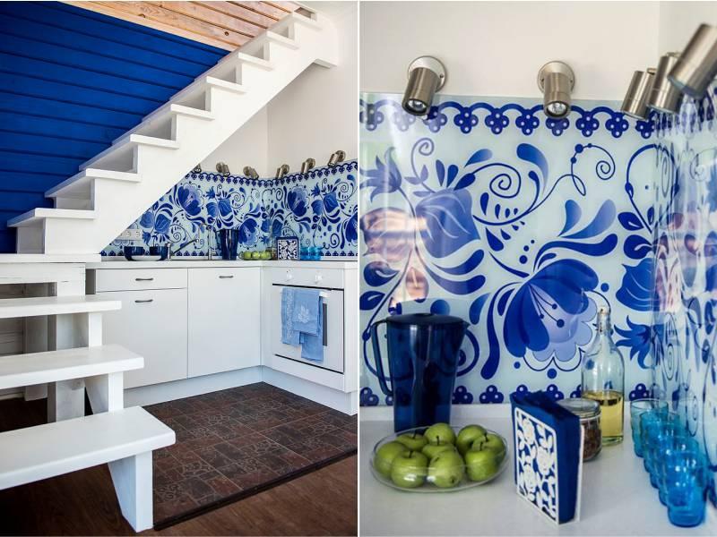 Skinali dans le style de Gjel à l'intérieur de la cuisine