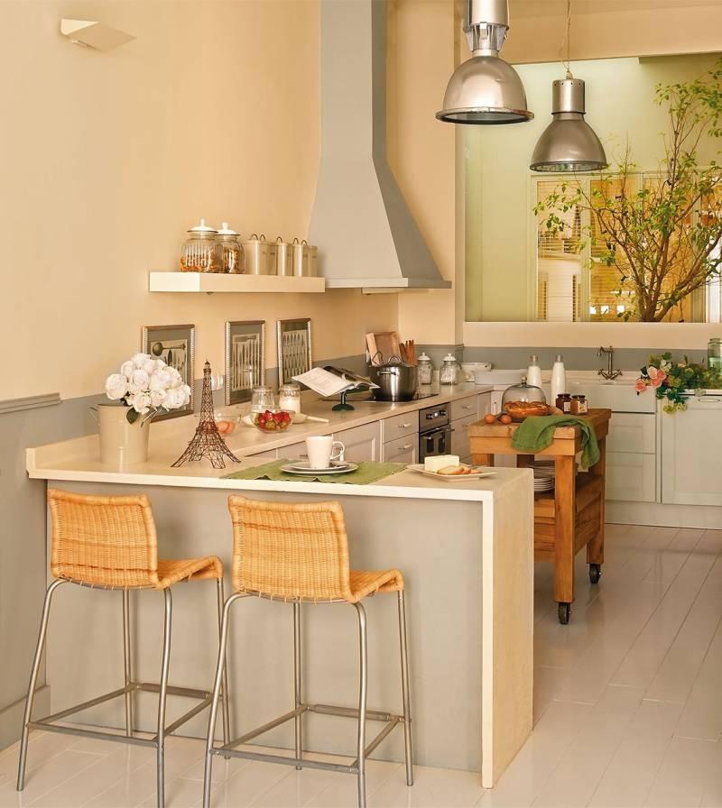 Bar tæller i det indre af køkkenet på 10 kvadratmeter. m