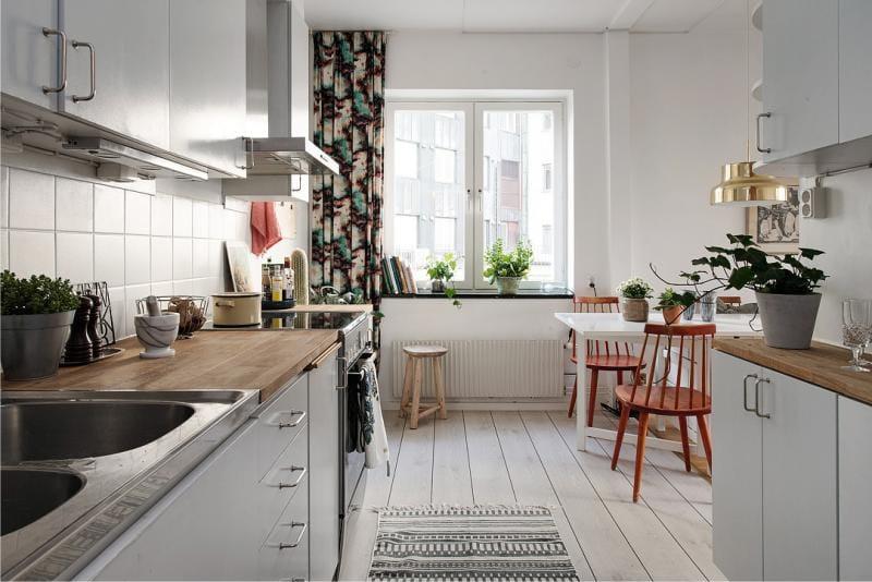 To-række køkken layout på 8 kvadratmeter. m
