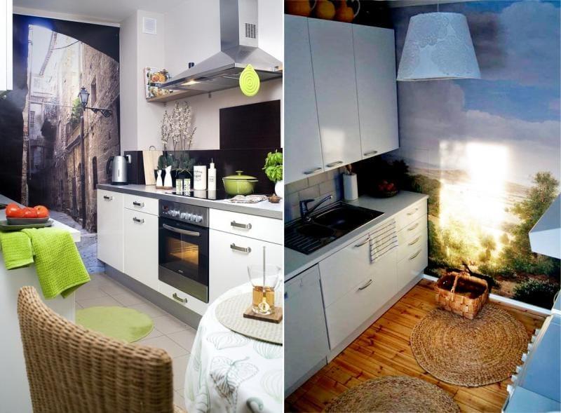 Foto tapet i det indre af et lille køkken