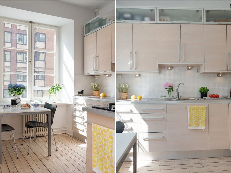 Interiøret i et lille køkken med high-set
