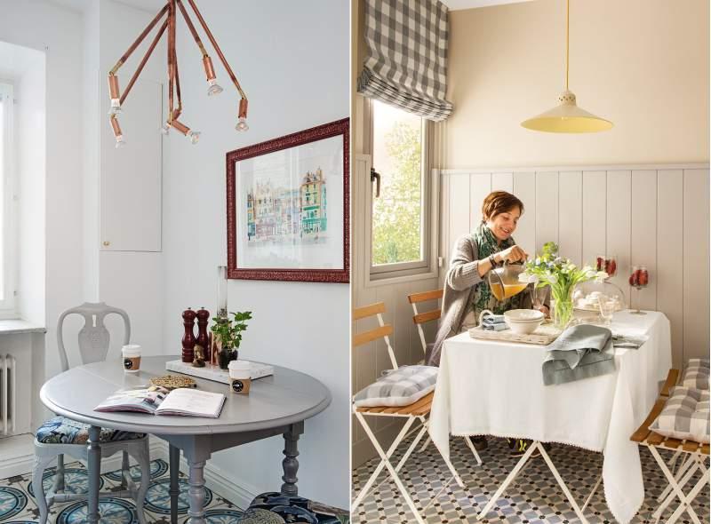 Spisestue i det indre af et lille køkken