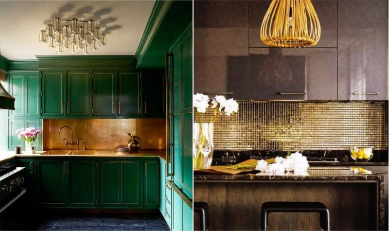 אריח לסינר בצבע זהב בפנים המטבח