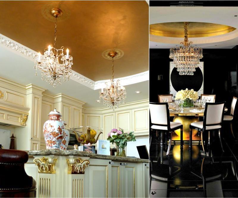 תקרה מצופה זהב בפנים המטבח וחדר האוכל