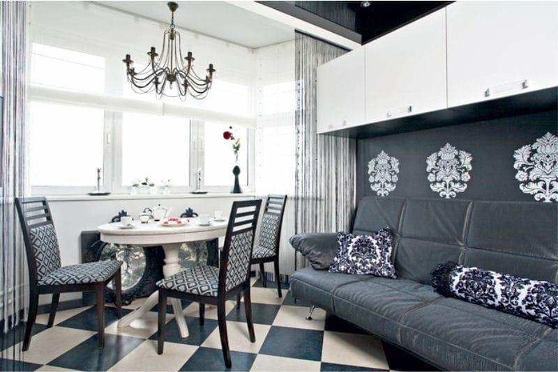 Conception de cuisine avec une baie vitrée d'une superficie de 12,8 mètres carrés. m