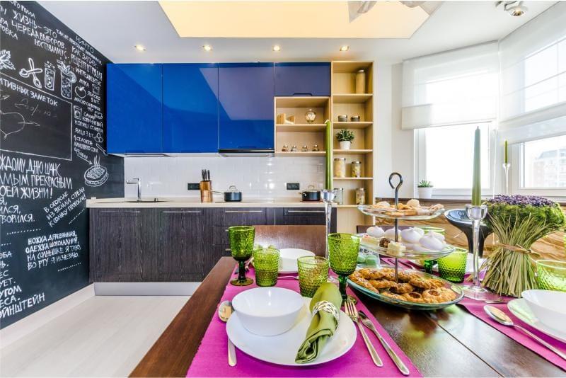 עיצוב מטבח עם חלון המפרץ להגדיר שורה כפולה