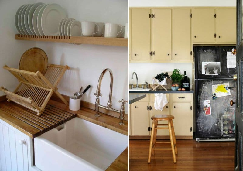 Puiset kuivurit keittiön sisätiloissa
