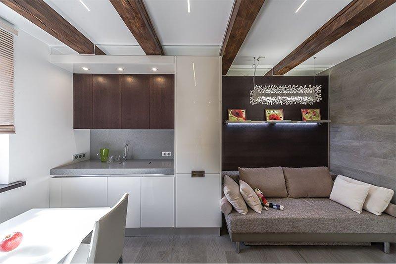 A 16 négyzetméteres konyha-nappali párhuzamos tervezése. m
