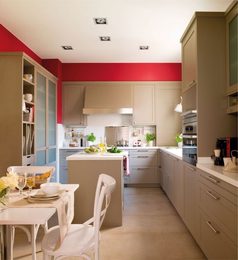 Aménagement de cuisine d'île de 18 mètres carrés. m