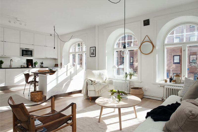 Cuisine / salon combinée de 17 m²