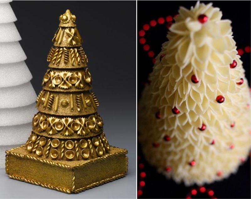 Arbre de Noël de différentes pâtes et un arbre de coquillages