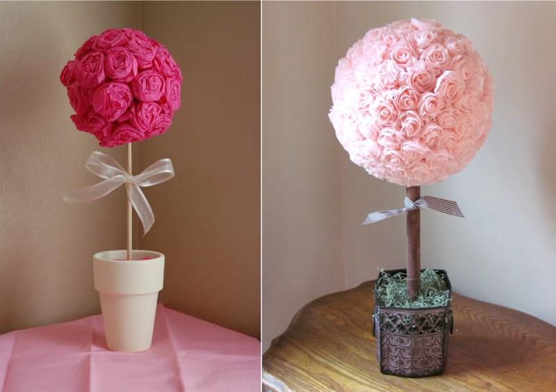 רעיונות לקישוט topiary עם פרחים נייר קרפ