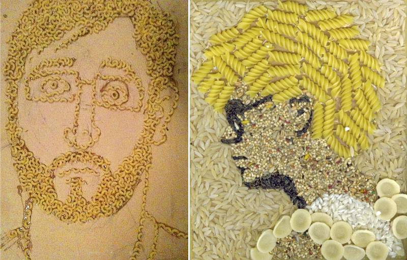Portraits de pâtes et de céréales