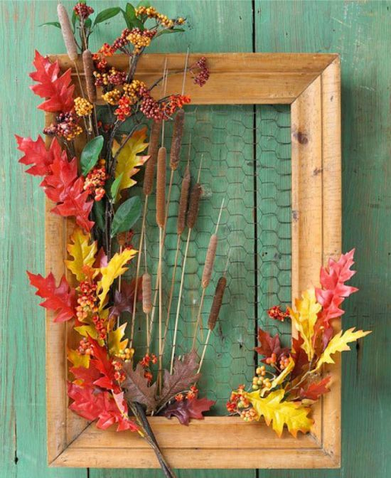 Őszi panel szárított levelek, nád és bogyók