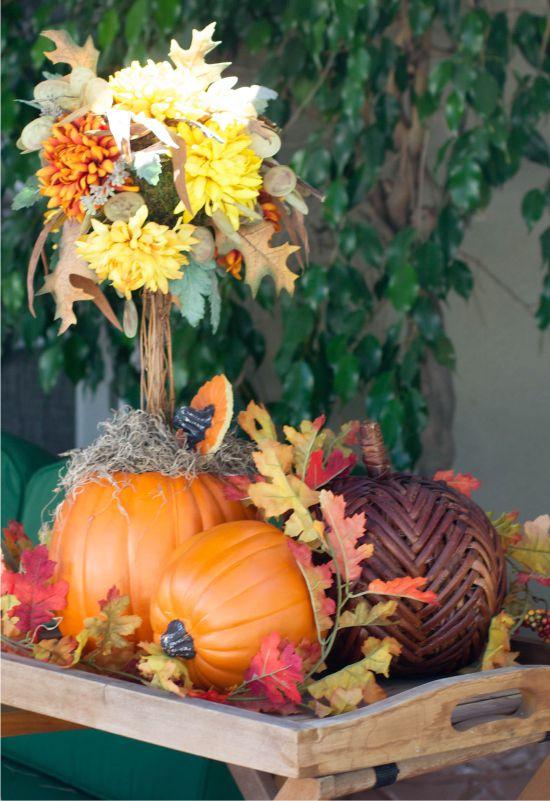 Sütőtök műhely, őszi levelek és virágok