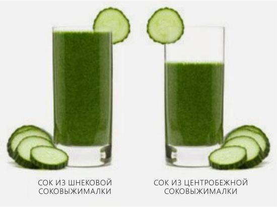 A csiga és az univerzális facsaró kész gyümölcslevek összehasonlítása