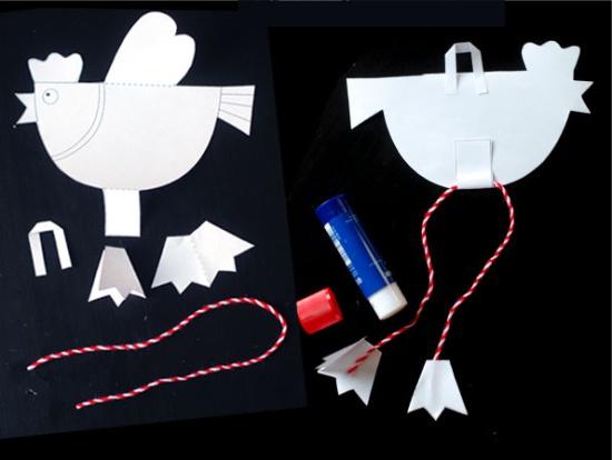 מלאכת יד לילדים בצורת תרנגולות - הוראות