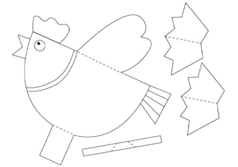 1. lépés: Töltse le és nyomtassa ki a sablont, majd vágja ki az összes részletet; Papír kakas minta