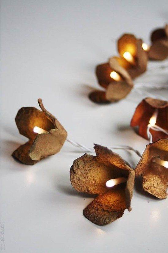 LED זר עם פרחים תוצרת בית