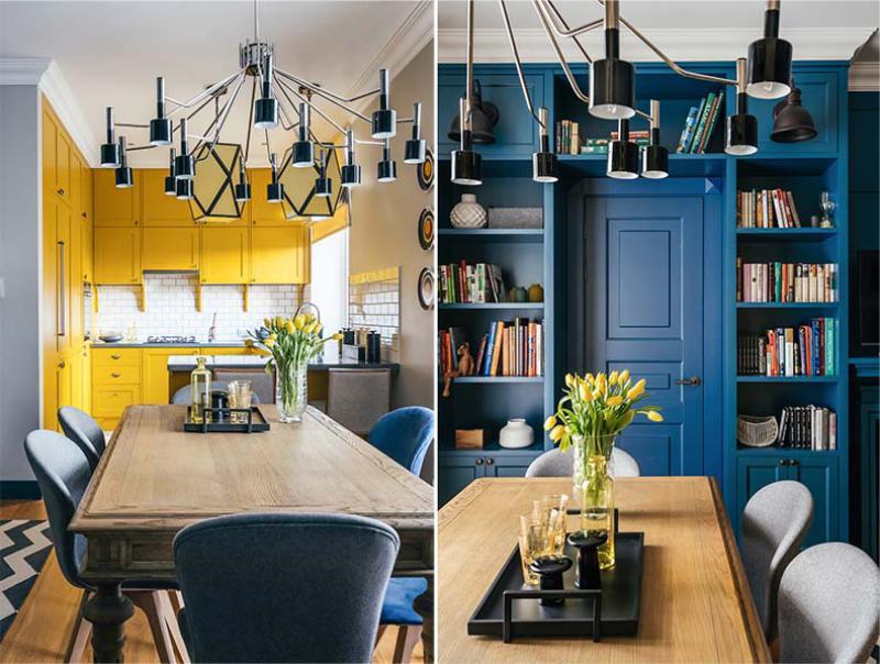 Cuisine-salon dans les tons jaune et bleu