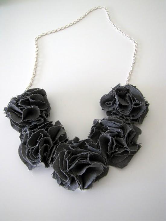 Szövet virág nyaklánc