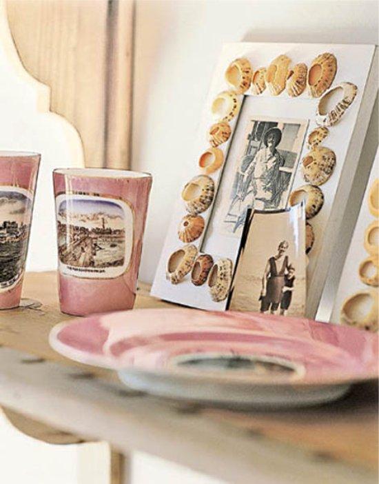 Cadre photo décoré de coquillages