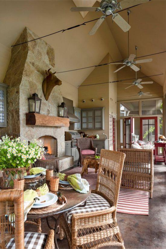 אבן בקישוט רצפת המטבח בקיץ