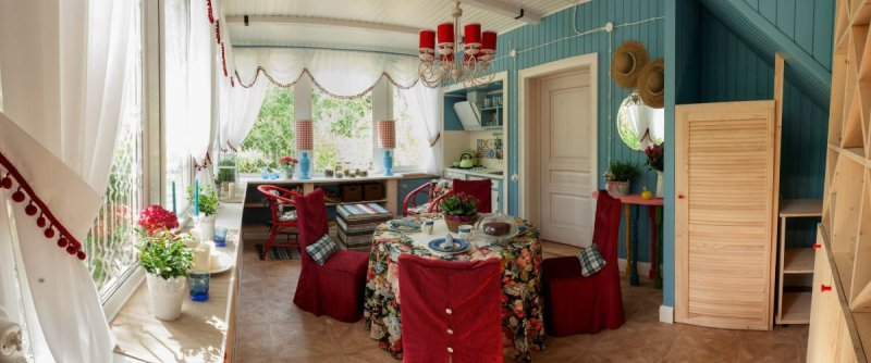 Køkken på verandaen af landstedet