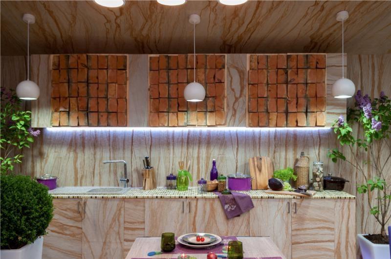 מרפסת פטיו עם מטבח קיץ