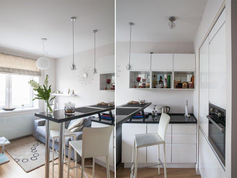 Stüdyo dairede küçük bir mutfak tasarlayın