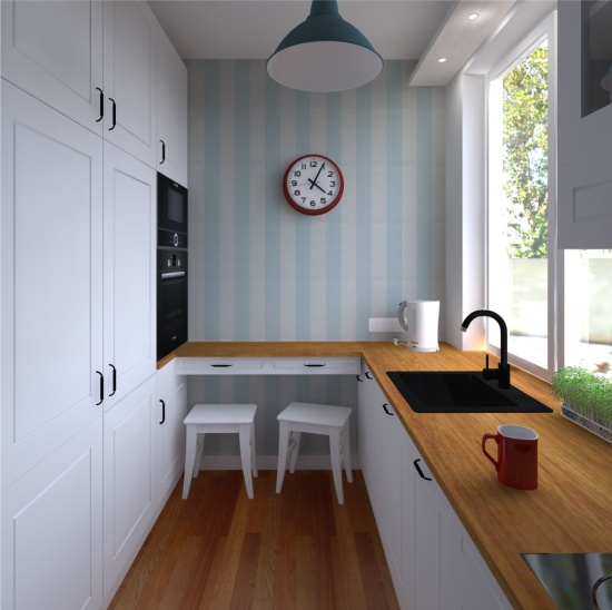 Design projekt af et lille køkken med stribet tapet