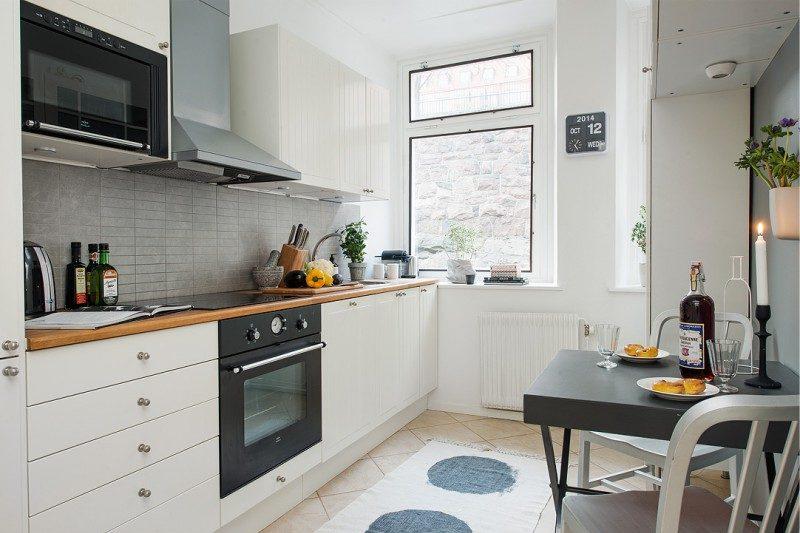 To-række køkken layout på 7.3 kvadratmeter. m