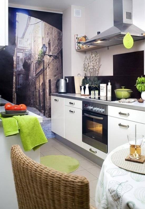 Photowall-papir på lille køkken