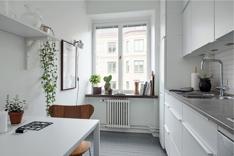 Køkken 7 kvadrat. lineært layout