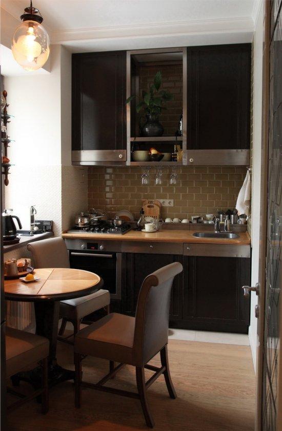 Lineært layout af et lille køkken