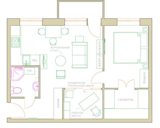 Lejlighed plan med kombineret køkken og stue