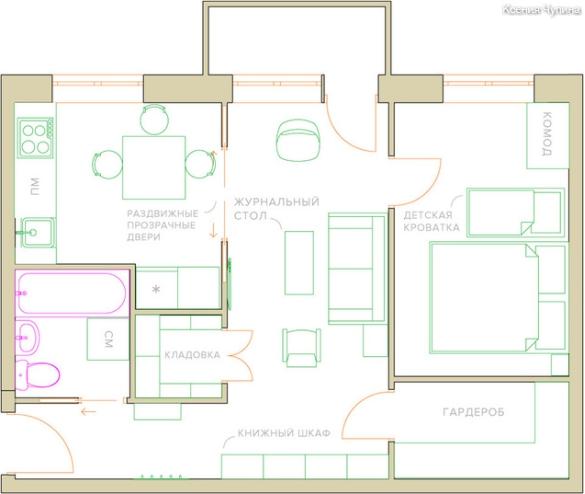 תוכנית הדירה עם העברת המחיצות וגידול באזור המטבח בשל חדר המגורים והמסדרון