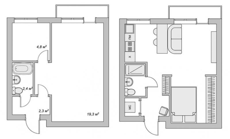 תוכנית שיפוץ חד חדר אחד חרושצ'וב