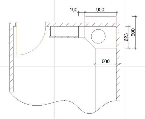 Hjørne køkken plan med ventilationskanalen