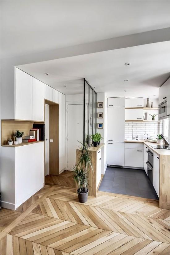 Et eksempel på zoning køkken-hallway i en studie lejlighed