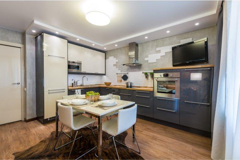 L-formet køkken 19 kvadrat. m