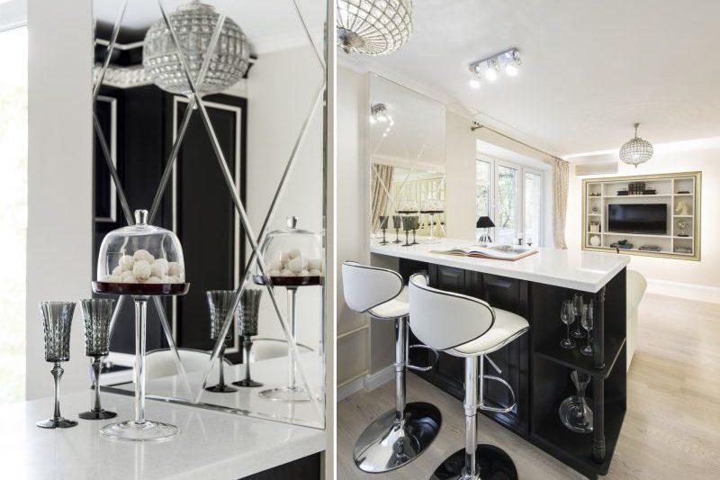 Musta art deco-keittiö